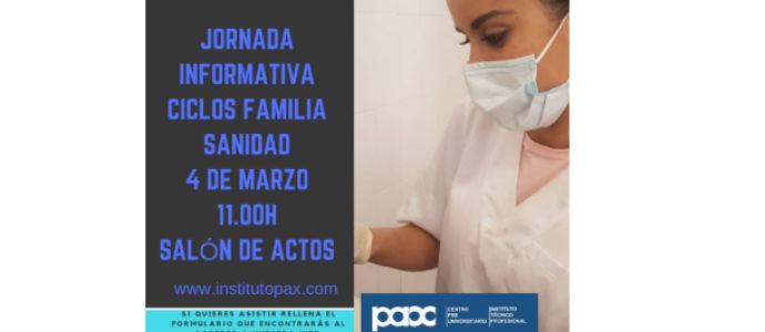 JORNADA INFORMATIVA FAMILIA SANIDAD 4 MARZO 11.00H SALÓN DE ACTOS